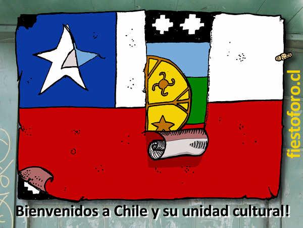 Dibujo De Chilena Para Colorear: Dibujo Bandera Mapuche Y Chilena