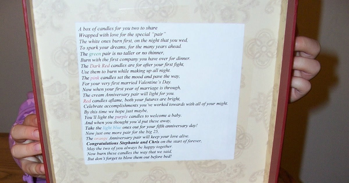 Candle Poem For Wedding Gift: Tips From A Mom Of 3: Inexpensive Wedding Candle Gift