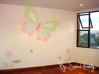 Murales en Dormitorios: Cuarto niña (Mariposas)