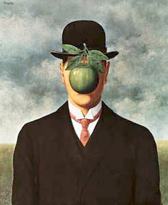 Drawing of man with a green apple in front of his face