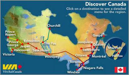 Map Of Canada Via Rail.Ryan Katz Rosene Cultural Geography On The Canadian