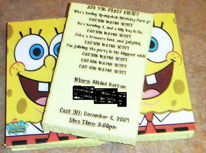 Our Scott Spot Spongebob Invitations