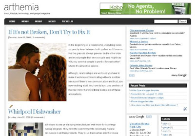 Free three column blogger xml  Template: Artemia Magazine Blogger Template
