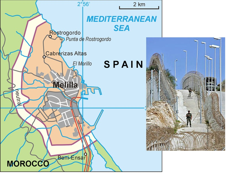 Melilla Spain Map.Neutral Zones At The Boundaries Dividing Ceuta And Melilla From