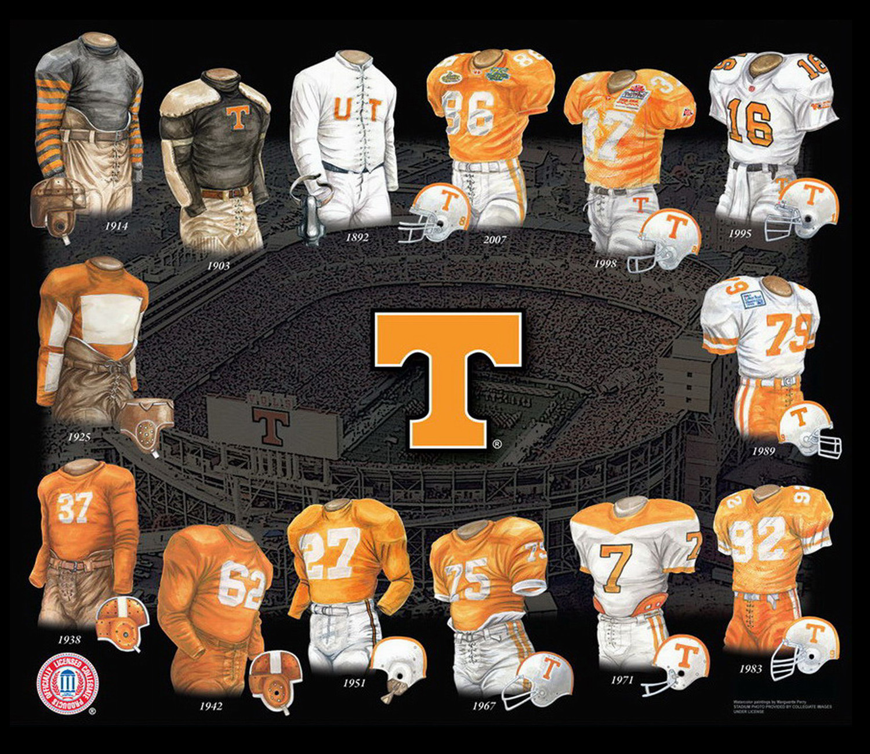 Heritage Uniforms and Jerseys - NFL, MLB, NHL, NBA, NCAA, US Colleges:  University of Tennessee Volunteers Football Uniform and Team History