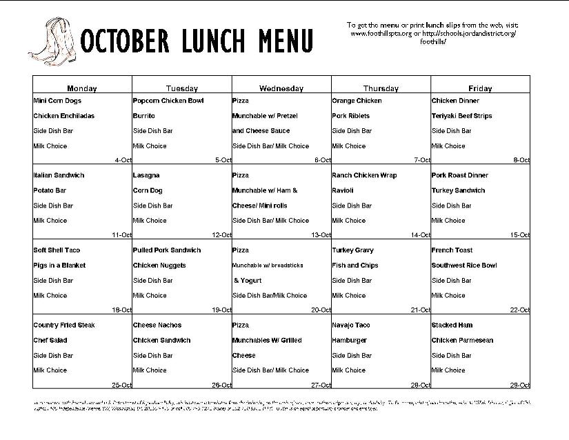 School Menu Template school menu templates weekly format for – Lunch Menu Template