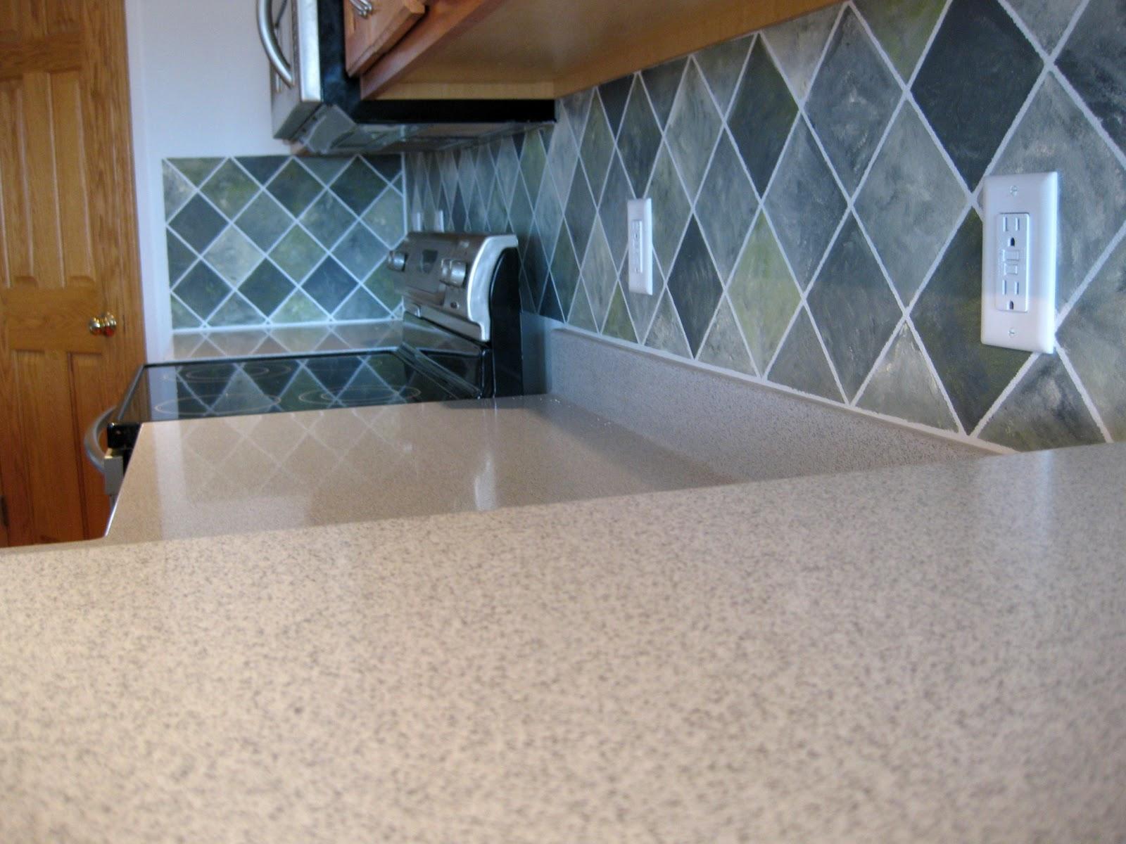 Faux Backsplash Ideas Part - 40: Faux Painted Tile Backsplash