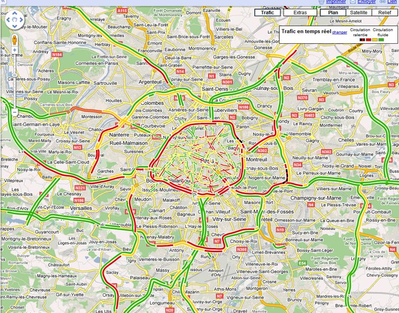 maps toulouse trafic google maps affiche le trafic routier en france blogomaps visualisez le. Black Bedroom Furniture Sets. Home Design Ideas