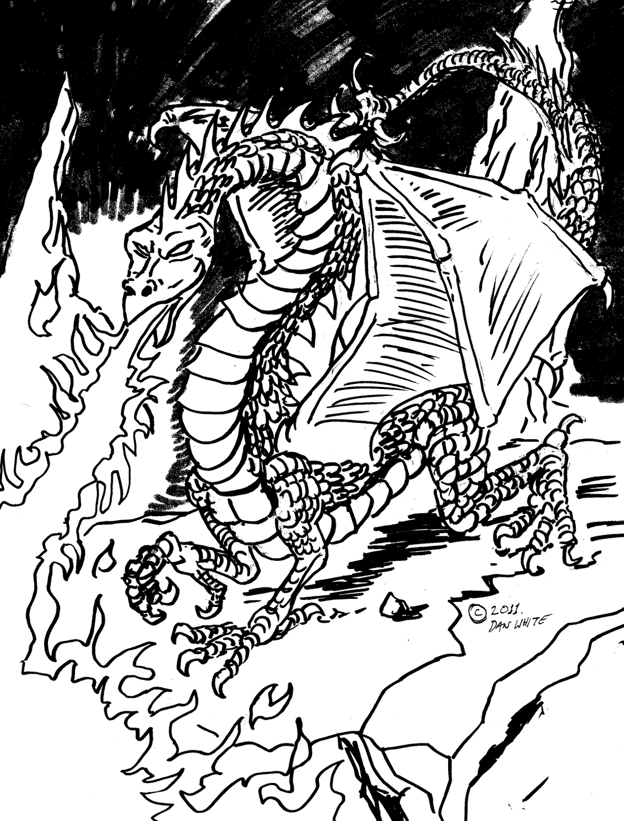 Free coloring pages of evil dragons for Evil dragon coloring pages for adults