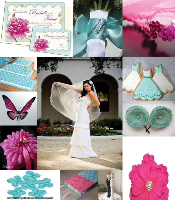 Teal And Fuchsia Wedding Colors: Teal & Silver W/Peacock