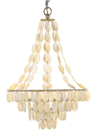 Natural shell and painted silver iron chandelier from Layla Grayce