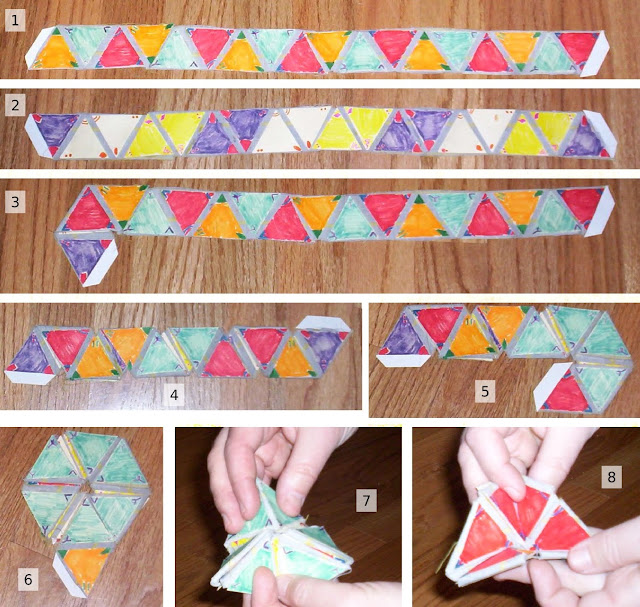 hexaflexagon,flexagon, papel, tutoriales, manualidades