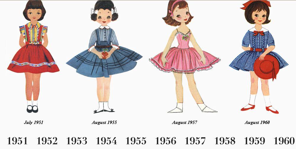 recortables vestidos vintage por años
