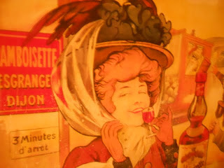 Dublin's Cafe en Seine: poster of a lady drinking a small sherry