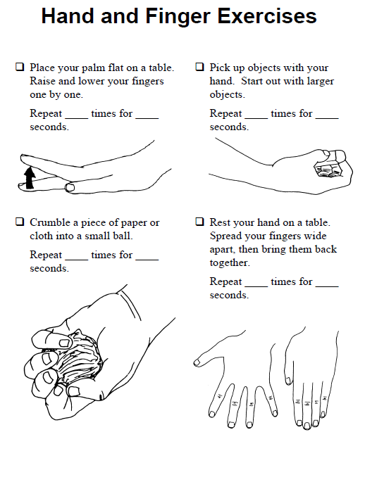 Hand exercises for writing a lot