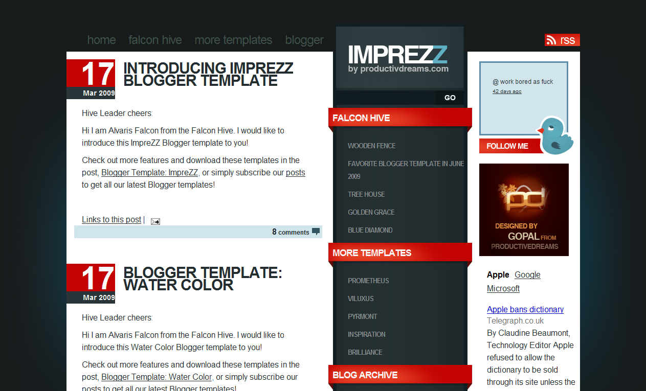 The imprezz bold blogger template is an eye catching three column blogger template thich instantly catches a readers attention