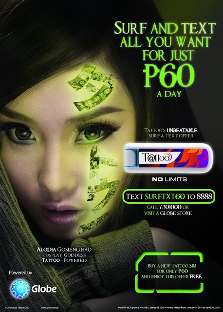 Globe Tattoo Surf and Txt 60 - unlimited mobile internet and SMS for