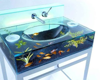 ikan di aquarium mirip wastafel