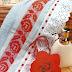 Cenefa rosas rojas punto de cruz para toalla