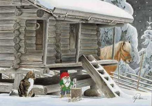 ilustraciones Navidad, papá Noel gato, casa nevada