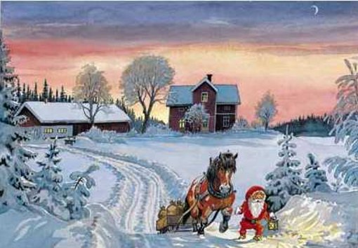 papa noel y paisaje nevado  ilustraciones navidad