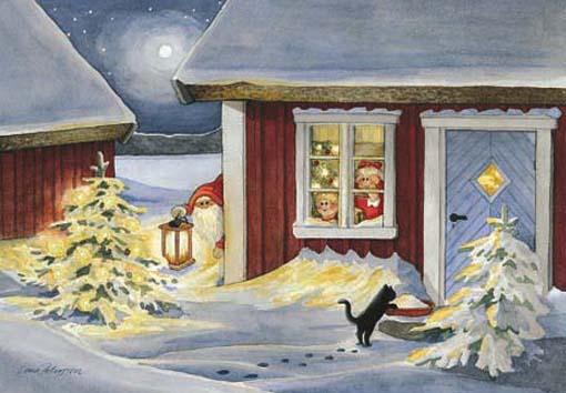 postales navidad, gato en nieve y niños mirando por la ventana