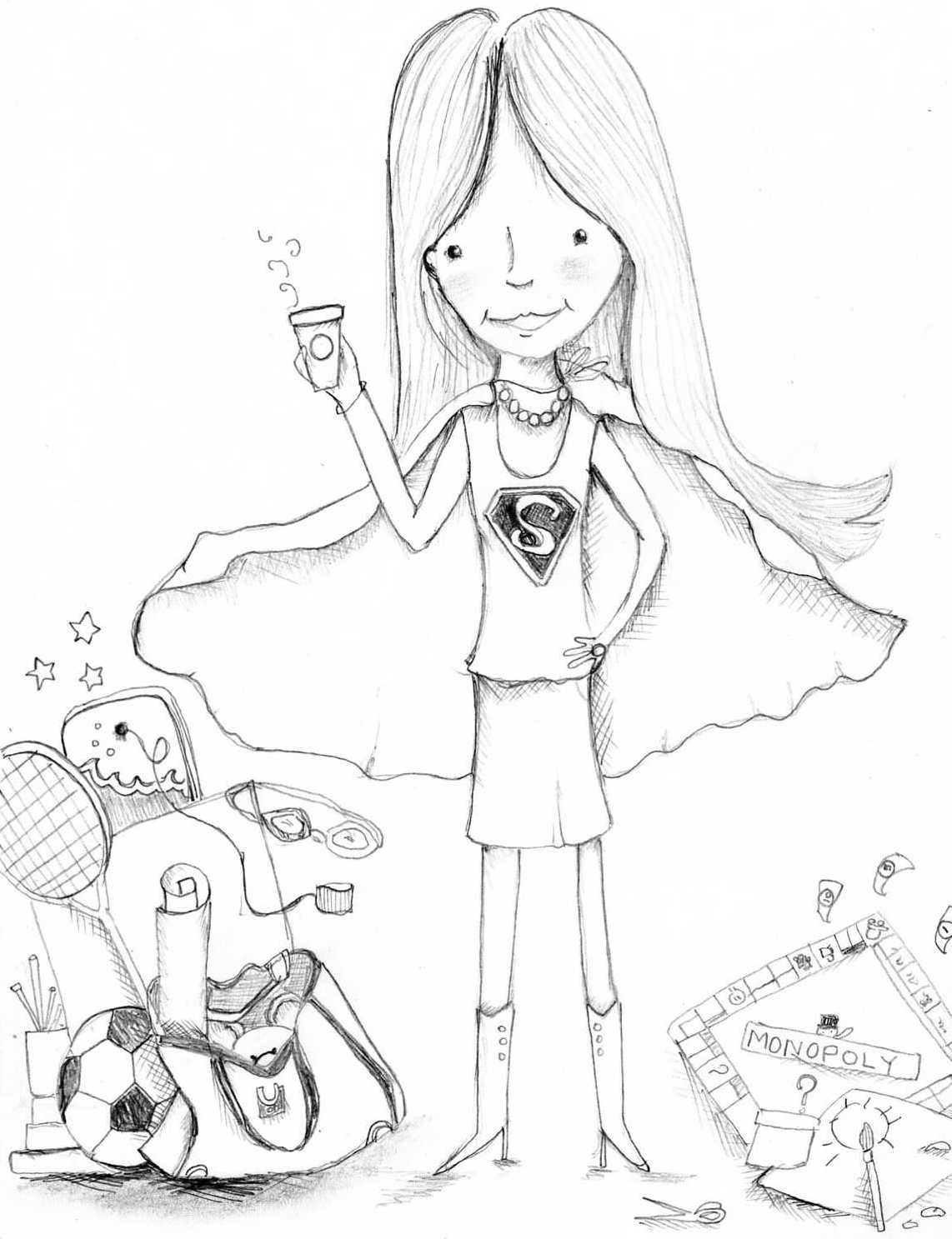 rose hill designs sunday sketches a tribute to super mom