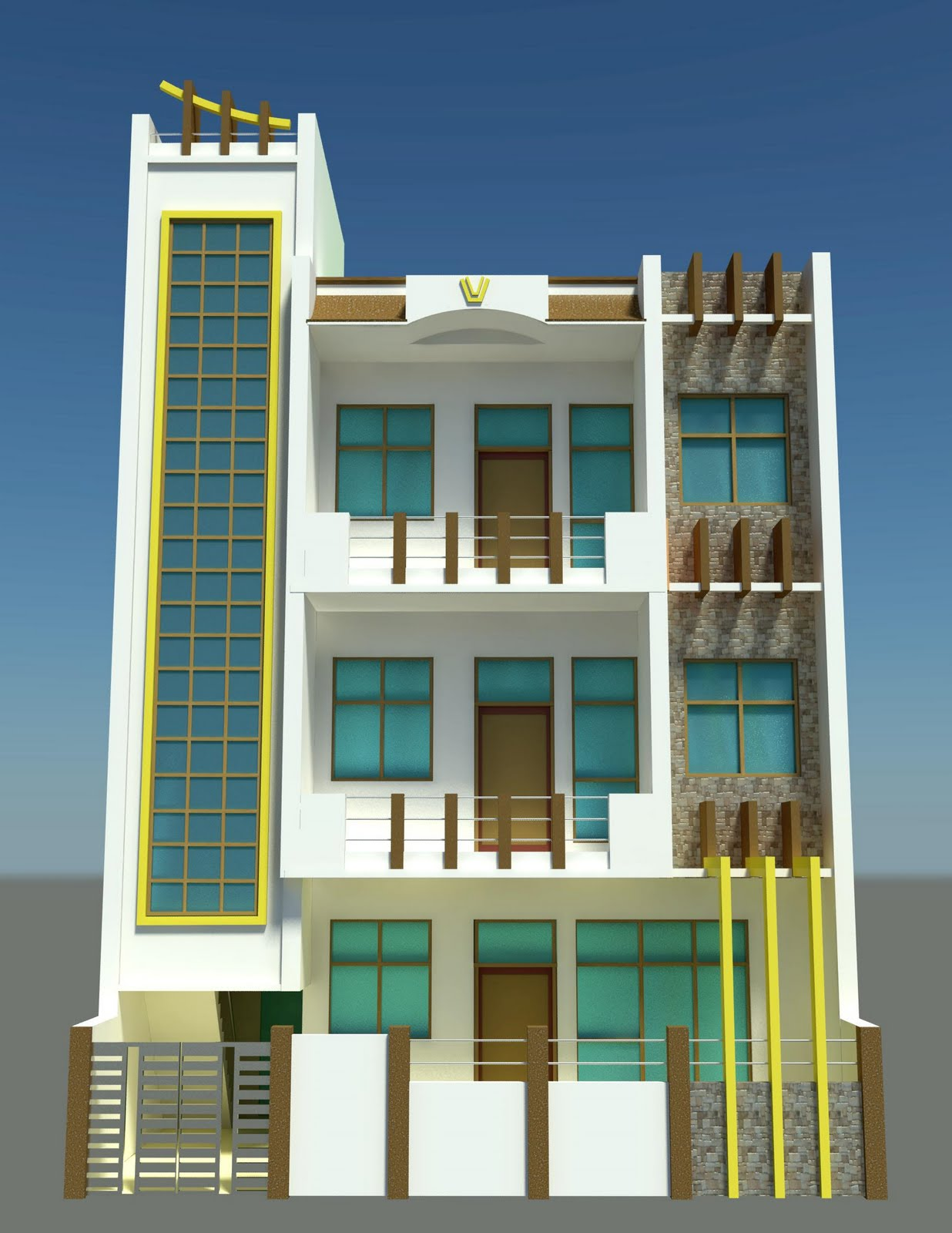 3D Designer Freelancer........: Gaziyabad Front Elevation