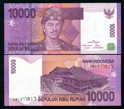 10.000 rupiah, bergambar sultan badaruddin II & rumah limas