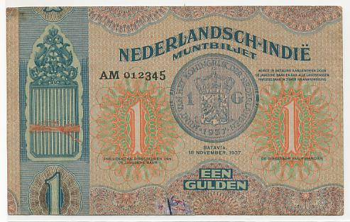 Pecahan 1 gulden bertanggal 10 November 1937 (Proof)