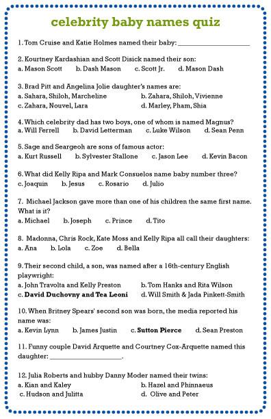 Printable celebrity quiz