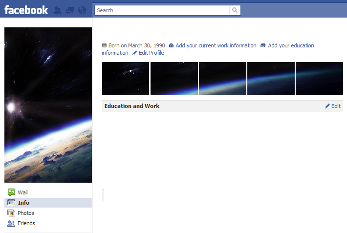 Cool Facebook Profile: 26 - Space - Cool Facebook Profile