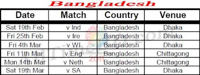 Bangladesh ICC cricket world cup 2011 match schedule