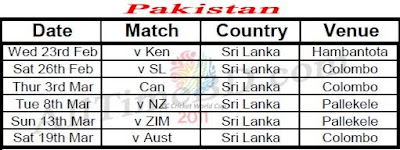 Pakistan ICC cricket world cup 2011 match schedule