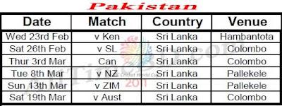 Pakistan ICC cricket world cup 2011 match schedule