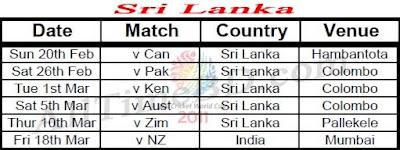 Sri Lanka ICC cricket world cup 2011 match schedule