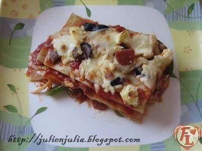 Cheesy Sausage Lasagna لازانيا بالسوسيس والجبنة