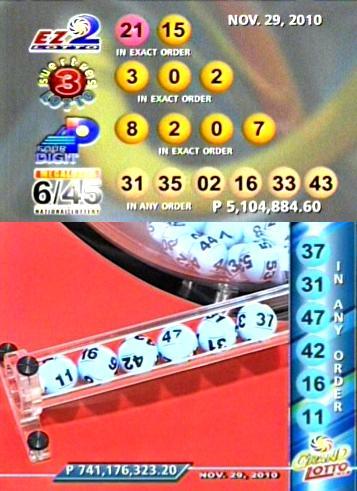PCSO Lotto Results November 29, 2010 - KUMAGCOW.COM