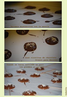 piruletas de chocolate para niños