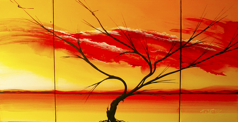 Abstract Yellow Orange red mixed drop painting on canvas