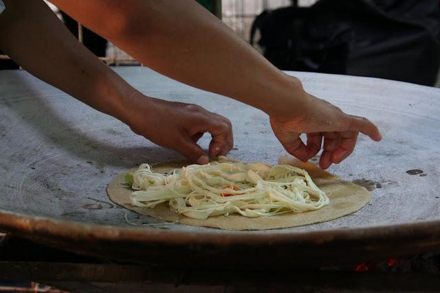 Mexican-style pancakes, tlayudas in Oaxaca