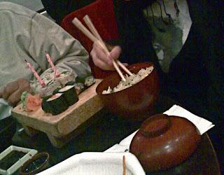 birthday sushi at Bento café