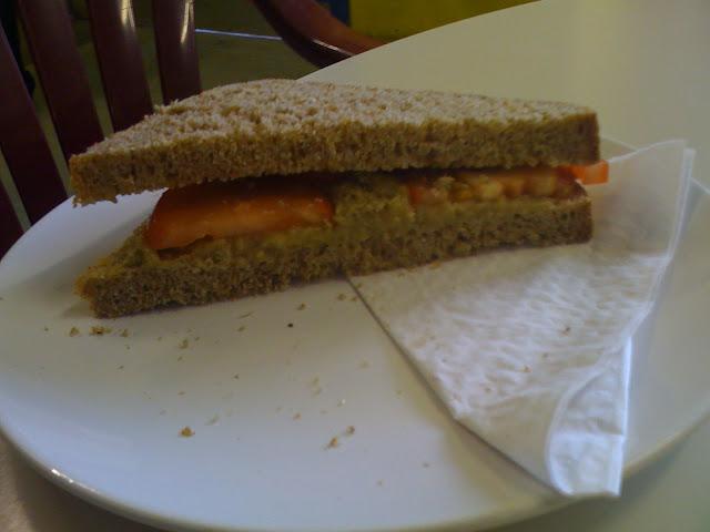 aubergine paté and tomato brown bread sandwich