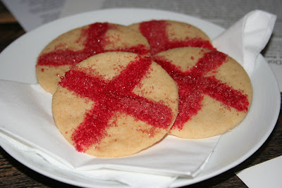 The St. Georges day shortbread, decorated with the cross of St George