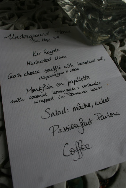 The menu written in my teen's beautiful French script