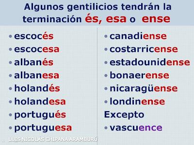 Servicio Educativo En Lenguaje Y Literatura Gentilicios Lista De Países Y Capitales Con Sus Gentilicios