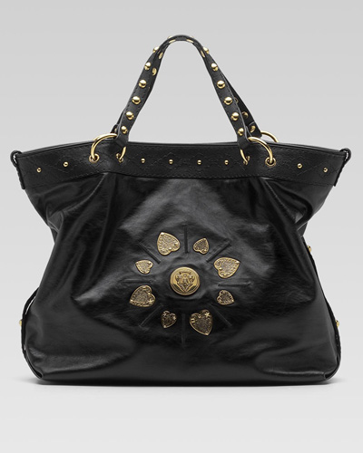 e460c0434190 Irina Leather medium tote with double handles, snap closure, heart-shaped  Gucci crest detail, studs, and inside zip and ...