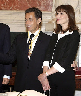 French president Nicolas Sarkozy with hot Carla Bruni