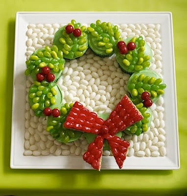 Jelly Belly Christmas Wreath Cupcakes