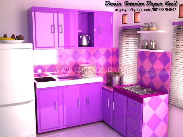 Dapur Kecil Warna Ungu Menawan